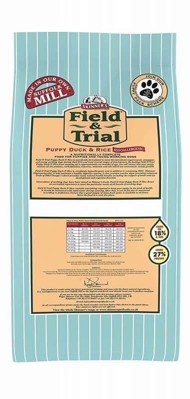 Skinner's Field & Trial Puppy Duck & Rice 15 kg, 2.5 kg test