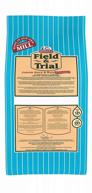 Skinner's Field & Trial Junior Anatra e Riso 2.5 kg, 15 kg test