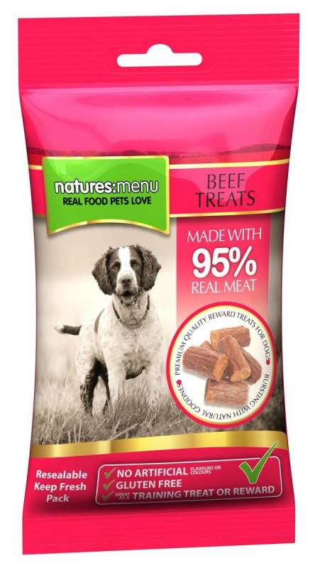 Natures Menu Real Meaty Dog Treats with Beef 60 g 5025730001092 anmeldelser