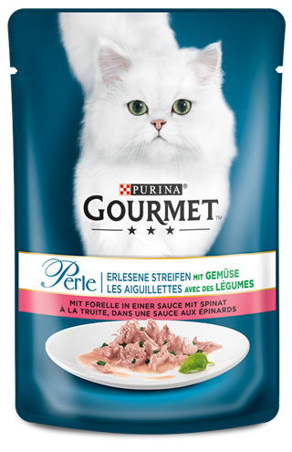 Purina Gourmet Perle Mini Fillets in Gravy with Trout and Spinach EAN: 4000487225954 reviews