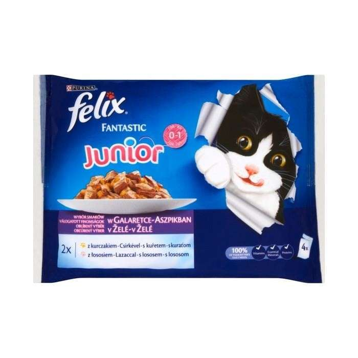 Felix Junior As good as it looks with Chicken & Salmon in Jelly 4x100 g