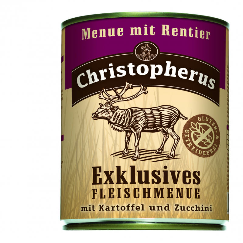 Christopherus Exclusive Meat Menu - Reindeer, Potato and Zucchini Can 800 g 4005784075219 erfaringer
