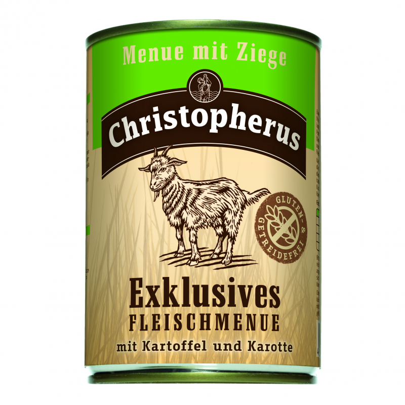 Christopherus Exclusive Meat Menu - Goat meat, Potato and Carrots Can 400 g 4005784075219 erfaringer