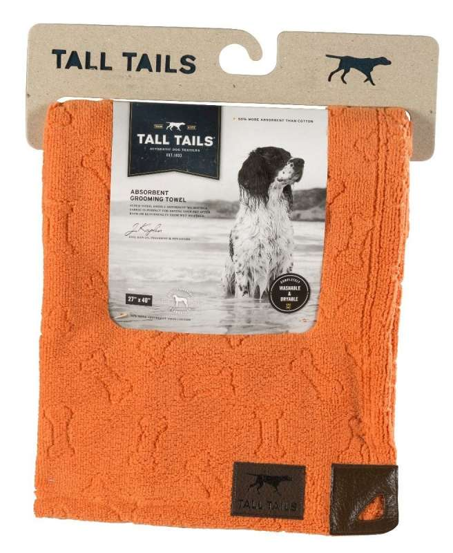 Tall Tails Grooming Towel Orange Bone  0022266138273