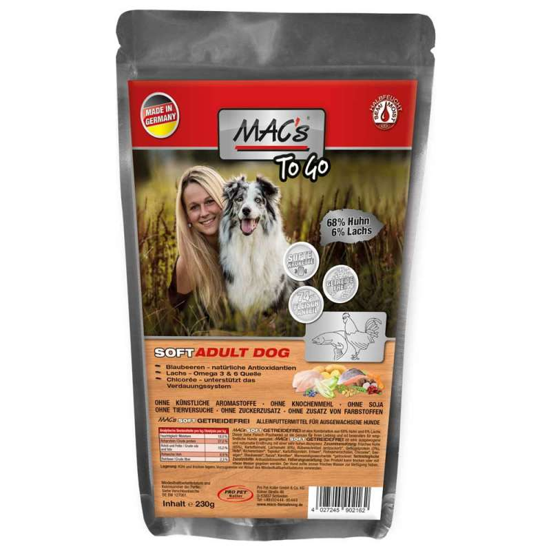 MAC's Soft Grain-free with Chicken and Salmon 230 g, 1.5 kg, 3x5 kg, 15 kg