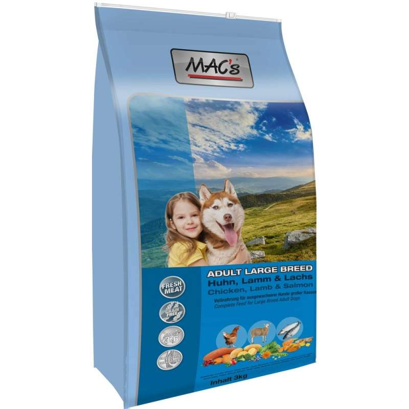 MAC's Adult Large Breed Kip, Lam & Zalm 750 g, 3 kg, 12 kg