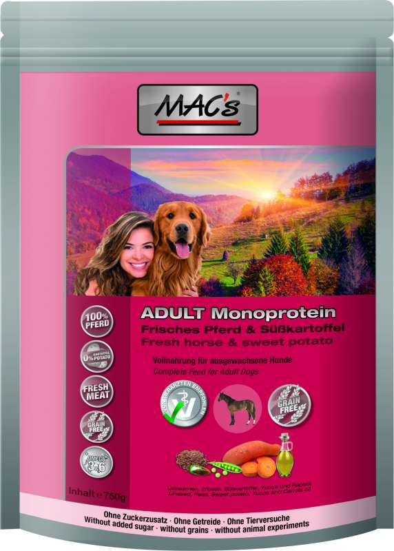 MAC's Mono Sensitive fresh Horse and sweet Potato 750 g 4027245903206
