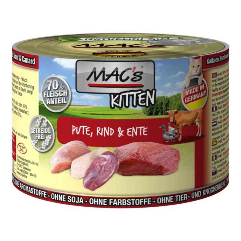 MAC's Kitten - Turkey, Beef & Duck 200 g