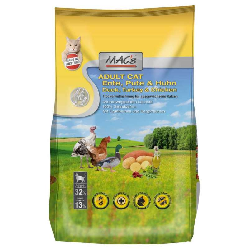 MAC's Cat Adult - Duck, Turkey & Chicken 7 kg, 1.5 kg, 300 g buy online