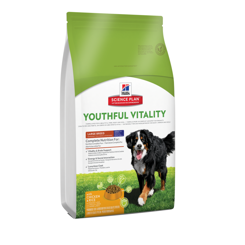 Hill's Science Plan Canine Adult 5+ Youthful Vitality Large Breed med Kylling og Ris 2.5 kg, 10 kg