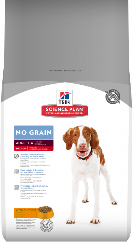 Hill's Science Plan Canine Adult No Grain Medium med Kyckling 800 g, 2 kg, 12 kg