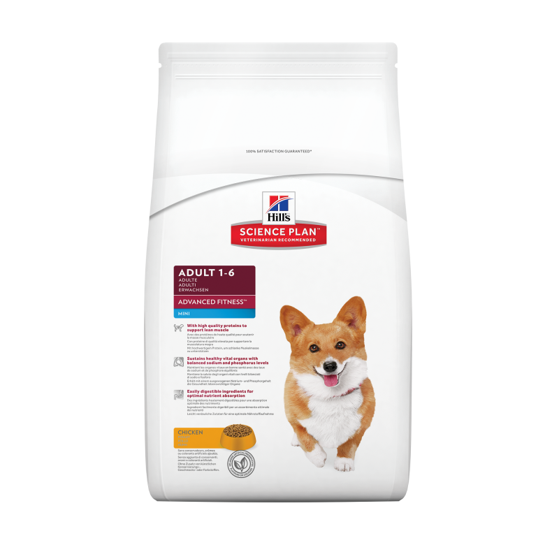 Hill's Science Plan Canine Adult Advanced Fitness Mini Poulet 800 g, 7 kg, 2.5 kg