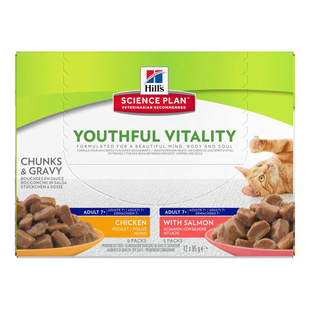 Hill's Science Plan Feline - Adult 7+ Youthful Vitality with Salmon and Chicken 12x85 g osta edullisesti