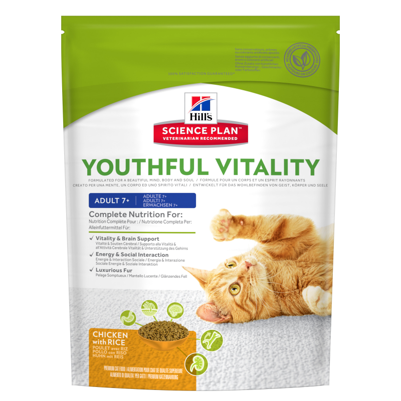 Hill's Science Plan Feline - Adult 7+ Youthful Vitality au Poulet et Riz 250 g