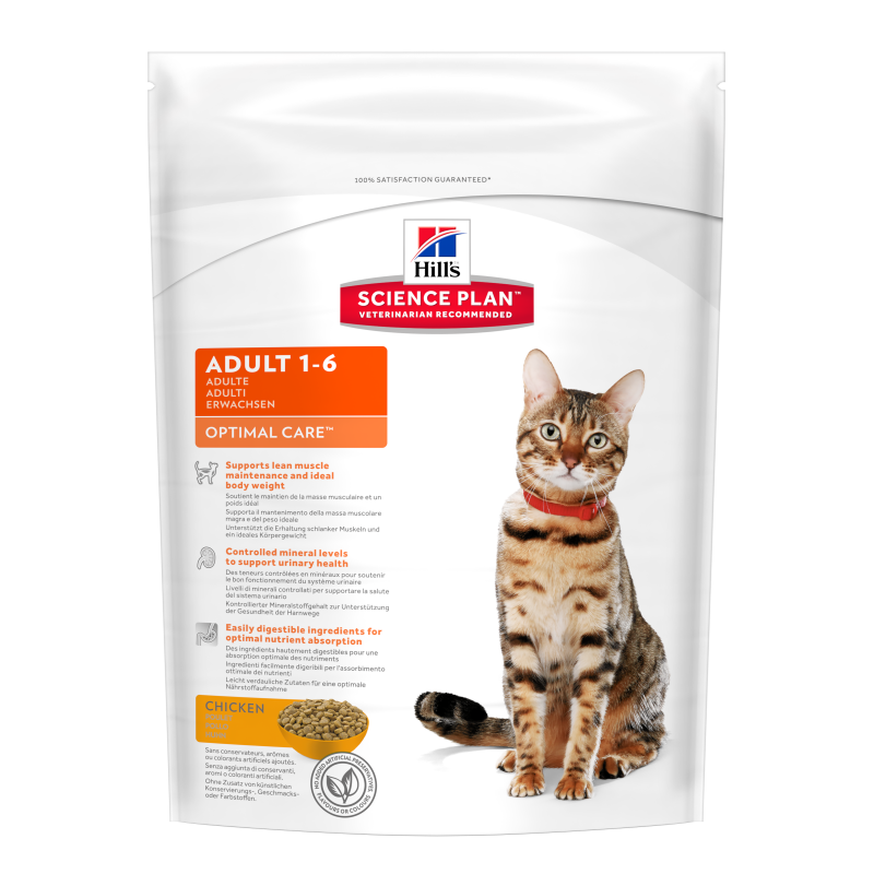 Hill's Science Plan Feline Adult Optimal Care Kylling 2 kg, 400 g, 5 kg, 10 kg, 15 kg