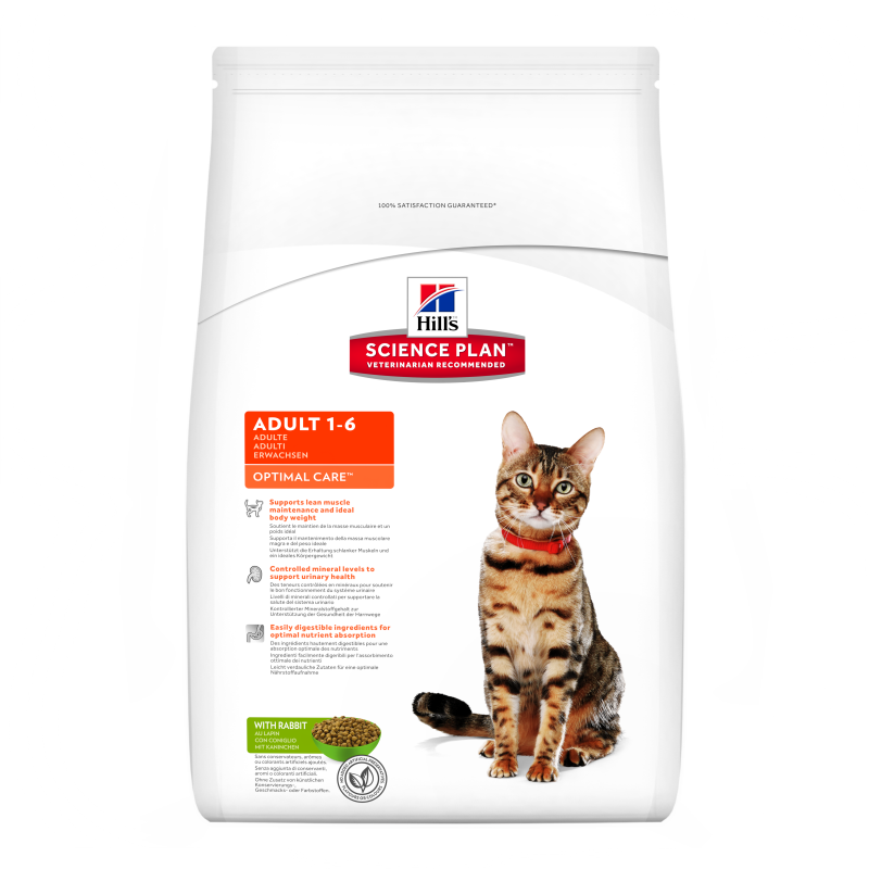 Hill's Science Plan Feline Adult Optimal Care Kanin 2 kg, 400 g, 5 kg, 10 kg, 15 kg