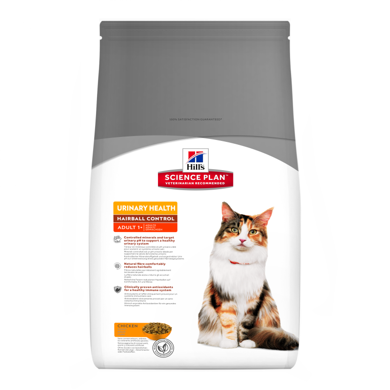 Hill's Science Plan Feline - Adult Urinary Health Hairball Control con Pollo 1.5 kg