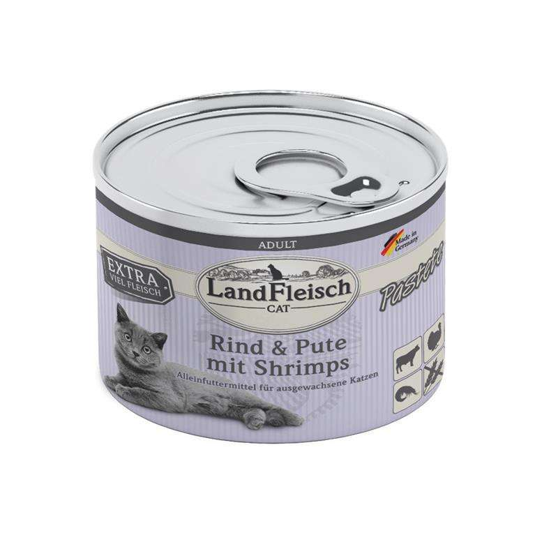 Landfleisch Cat Adult pate with Beef, Turkey and Shrimps 195 g
