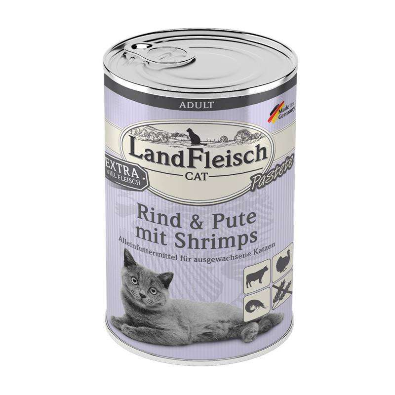Landfleisch Cat Adult pate with Beef, Turkey and Shrimps 195 g, 400 g, 100 g