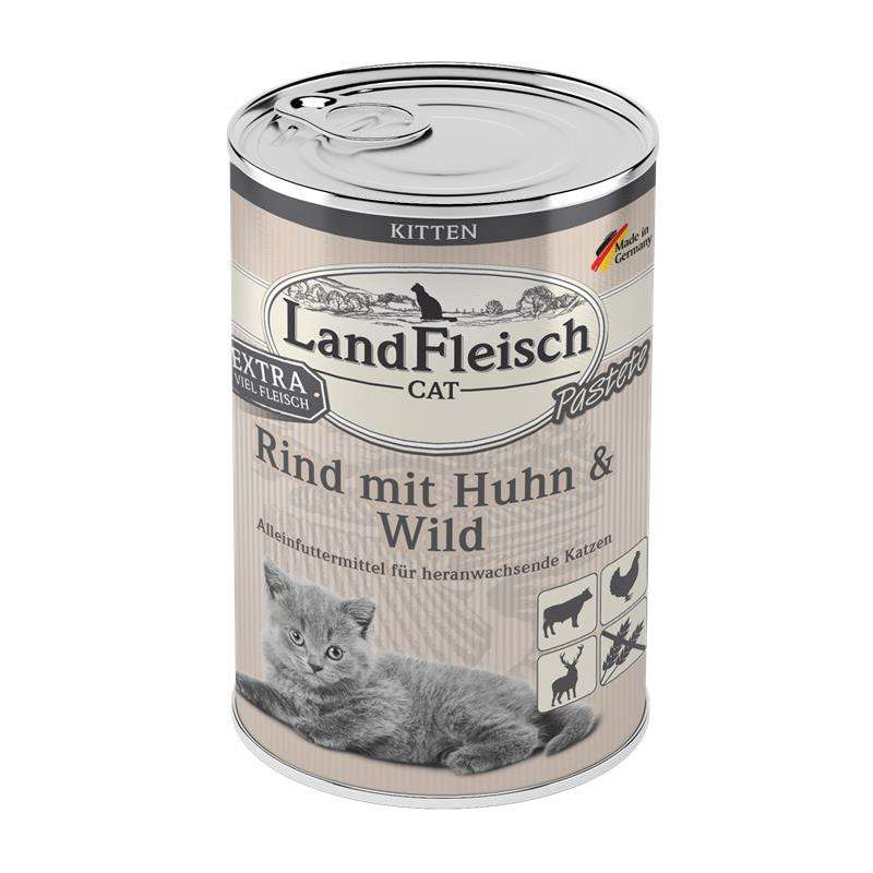 Landfleisch Cat Kitten Pate with Beef, Chicken and Game Paino 195 g
