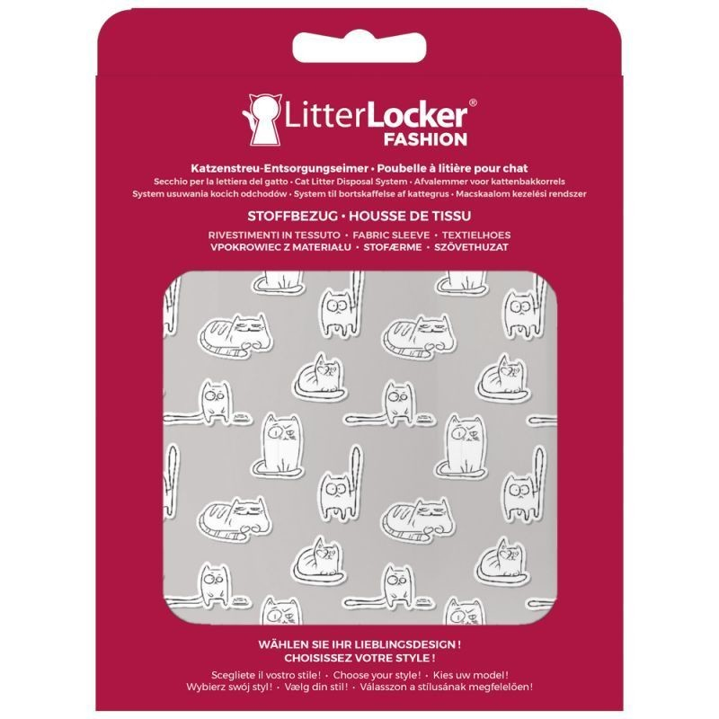 Litter Locker Fashion Stoff-Bezug Paper Cats  Hellgrau 15.5x2.5x20.5 cm