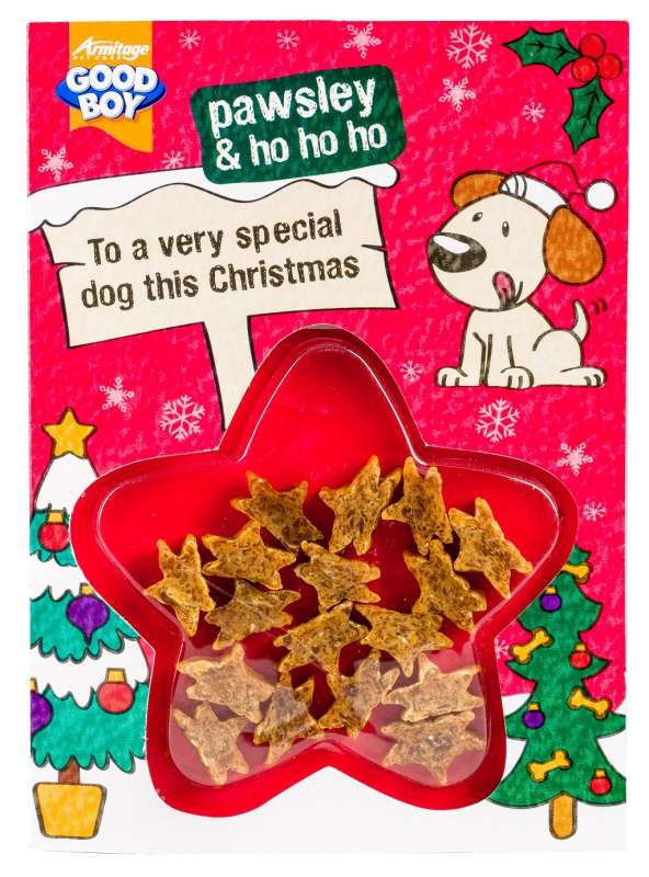 Armitage Pet Care Good Boy Chicken Meaty Treats Christmas Card 5000239102921 kokemuksia
