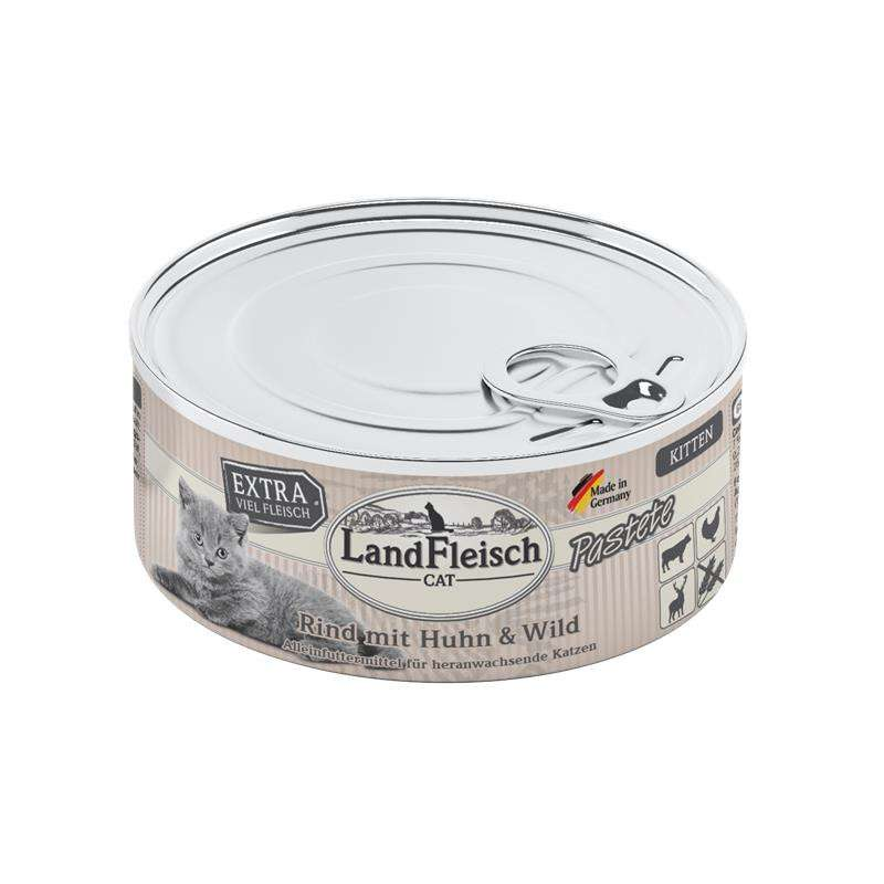 Landfleisch Cat Kitten Pate with Beef, Chicken and Game 195 g, 100 g, 400 g