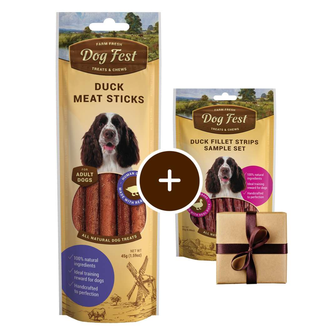 Dog Fest Enten Sticks + Geschenk: Entenfiletstreifen 45+25 g