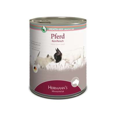 Herrmann's  Creative-Mix Horse Pure Meat, canned 400 g 4047459010019 erfaringer