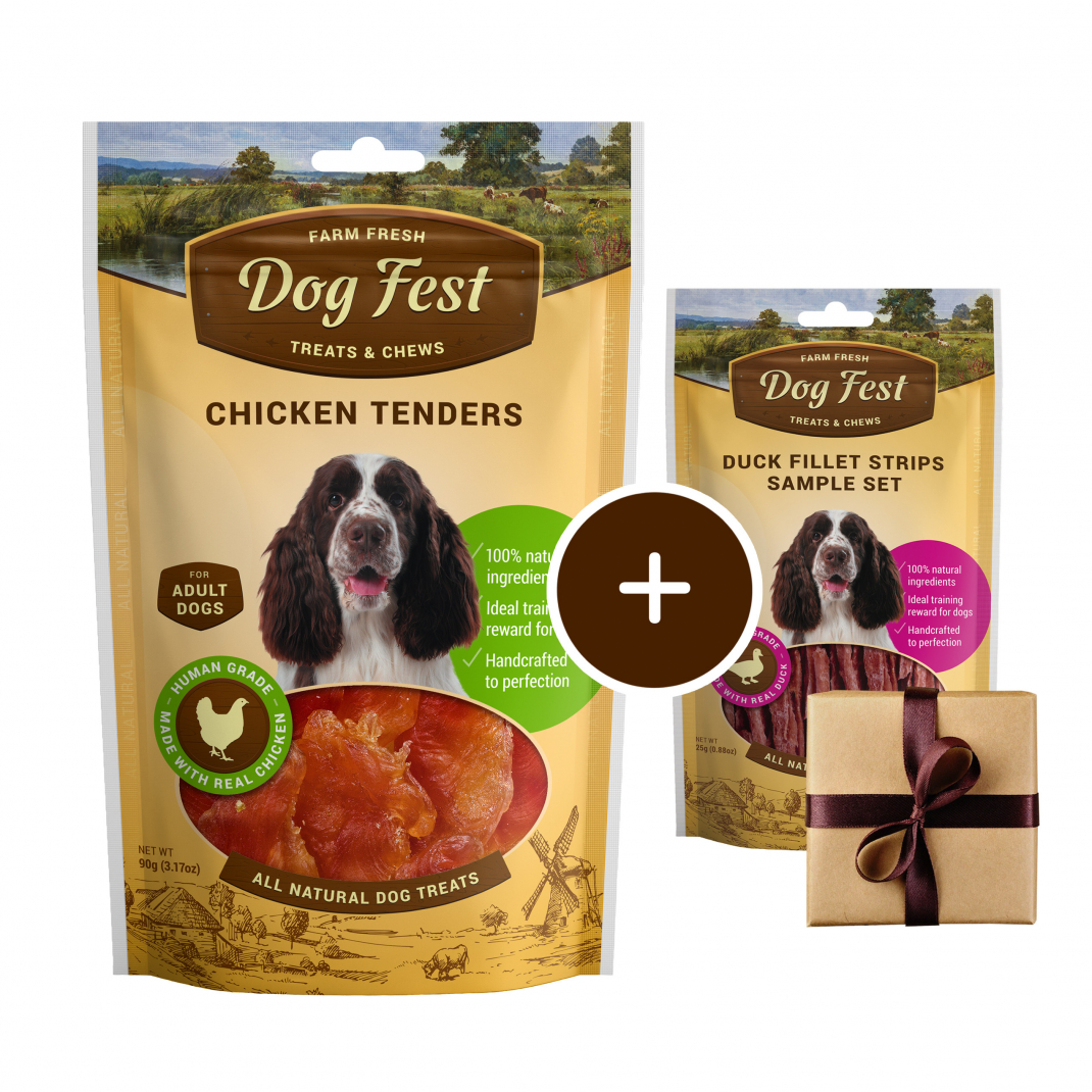 Dog Fest Tenders de Pollo + Regalo: Filetes de Pato 90+25 g 6921499711205 opiniones