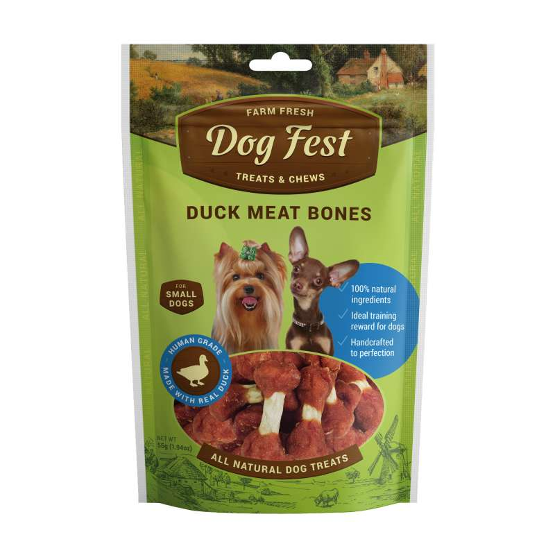 Dog Fest Small Breeds Huesos de Pato + Regalo: Filetes de Pato 55+25 g