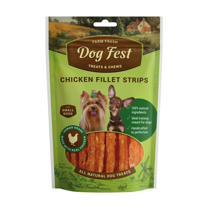 Dog Fest Small Breeds Strisce di Pollo + Regalo: Filetti di Anatra 55+25 g