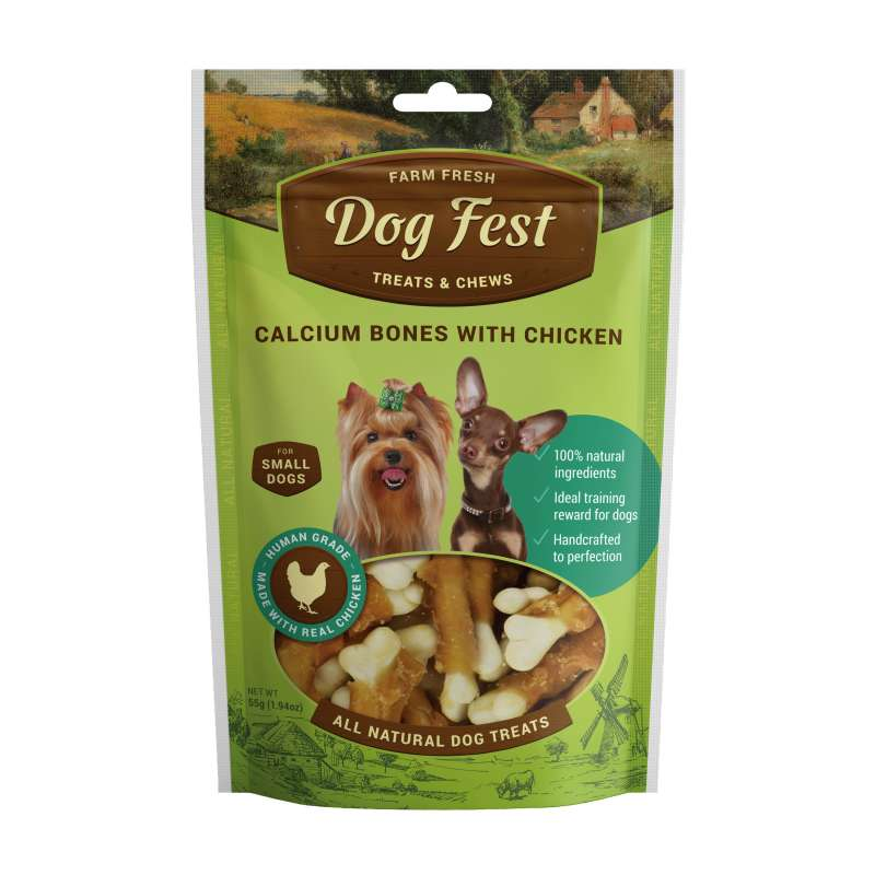 Dog Fest Small Breeds Ossi al Calcio con Pollo + Regalo: Filetti di Anatra 55+25 g