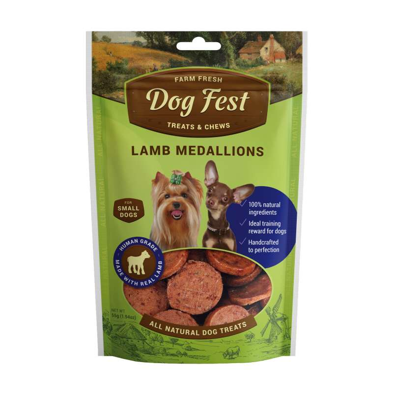 Dog Fest Small Breeds Medagliono di Agnello + Regalo: Filetti di Anatra 55+25 g