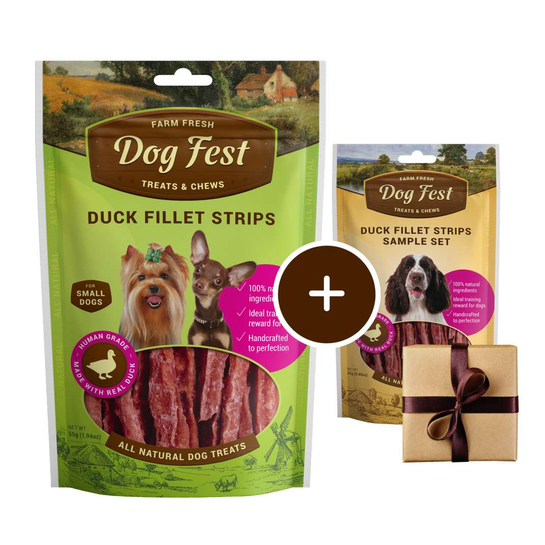 Dog Fest Small Breeds Strisce di Anatra + Regalo: Filetti di Anatra 55+25 g