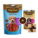 Dog Fest Puppy Fette di Agnello + Regalo: Filetti di Anatra 90+25 g