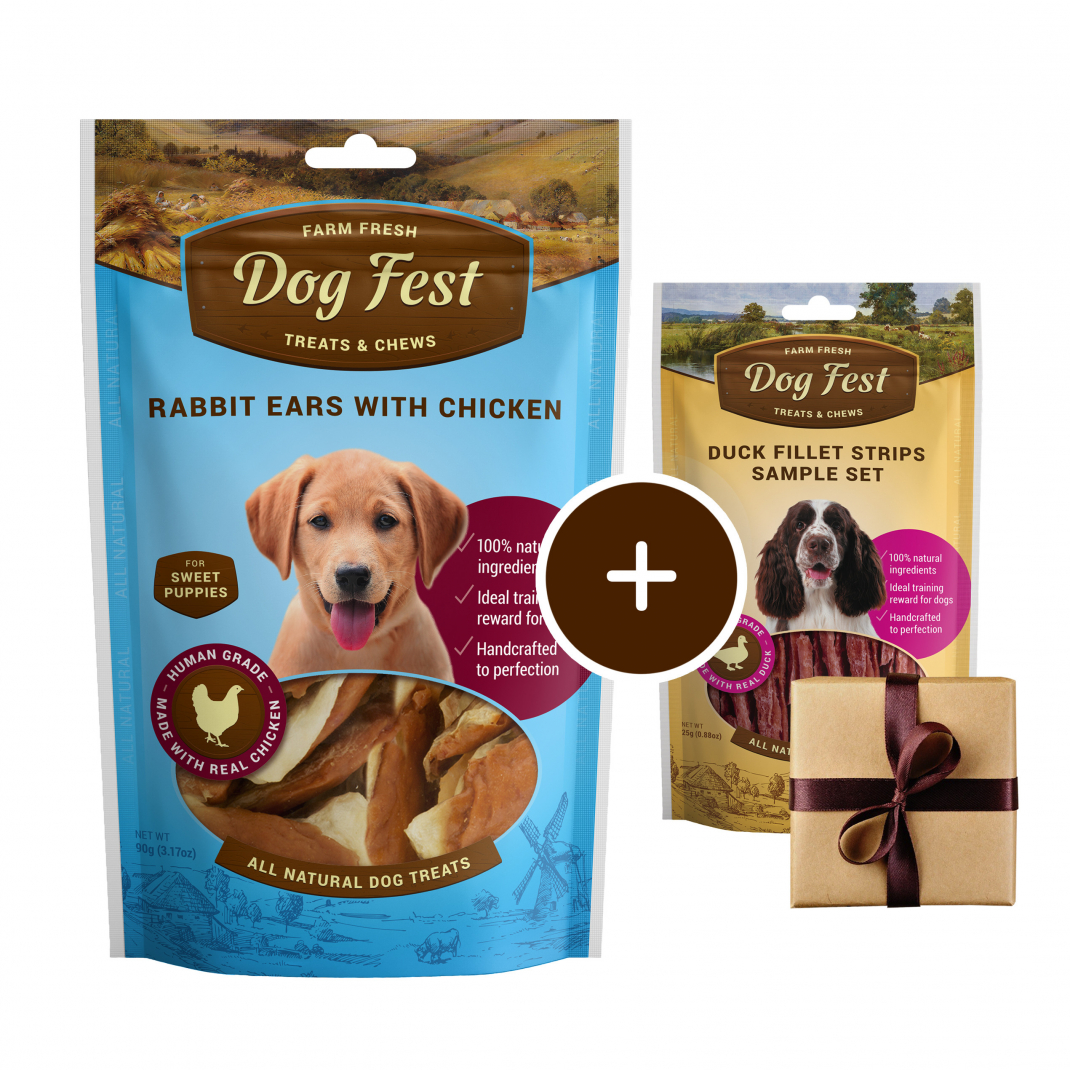 Dog Fest Puppy Orecchie di Coniglio con Pollo + Regalo: Filetti di Anatra 90+25 g