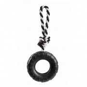 Dog toy rubber throwing ring, black 10 cm