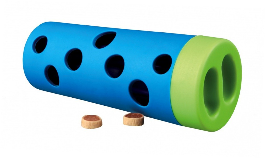 Trixie Dog Activity Snack Roll, plastique/caoutchouc naturel Bleu clair ø 6/ø 5×14 cm