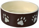 Trixie Ceramic bowl with Paw Prints, brown/cream Beige
