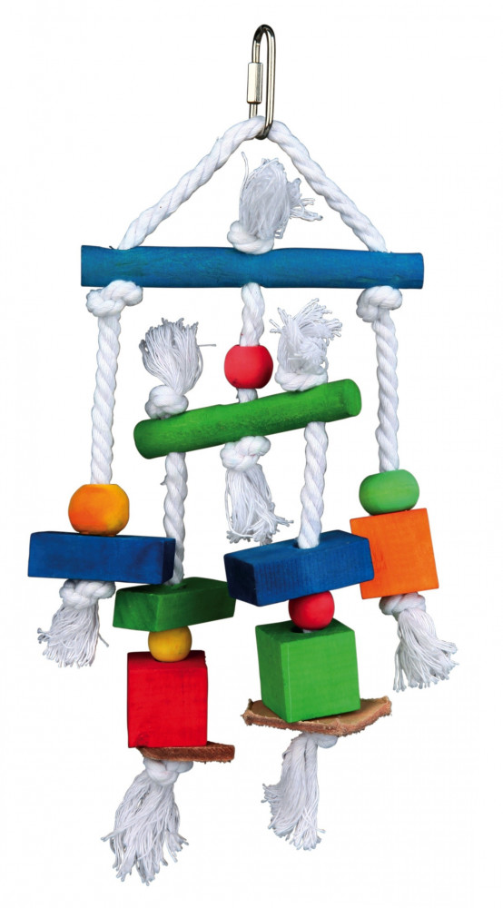 Trixie Wooden Toy on a Rope, Colourful 24 cm