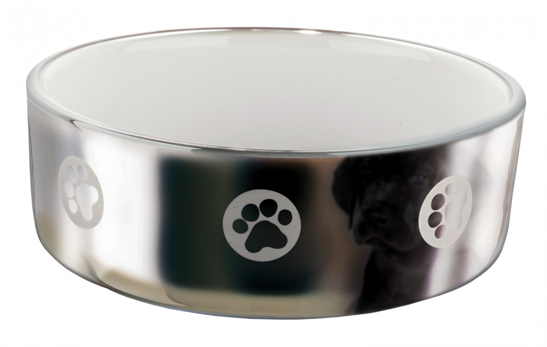 Trixie Ceramic Bowl, silver/white 300 ml