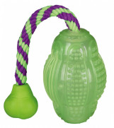 Trixie Rugbyball on Rope TPR Phosphorescent 10/30 cm