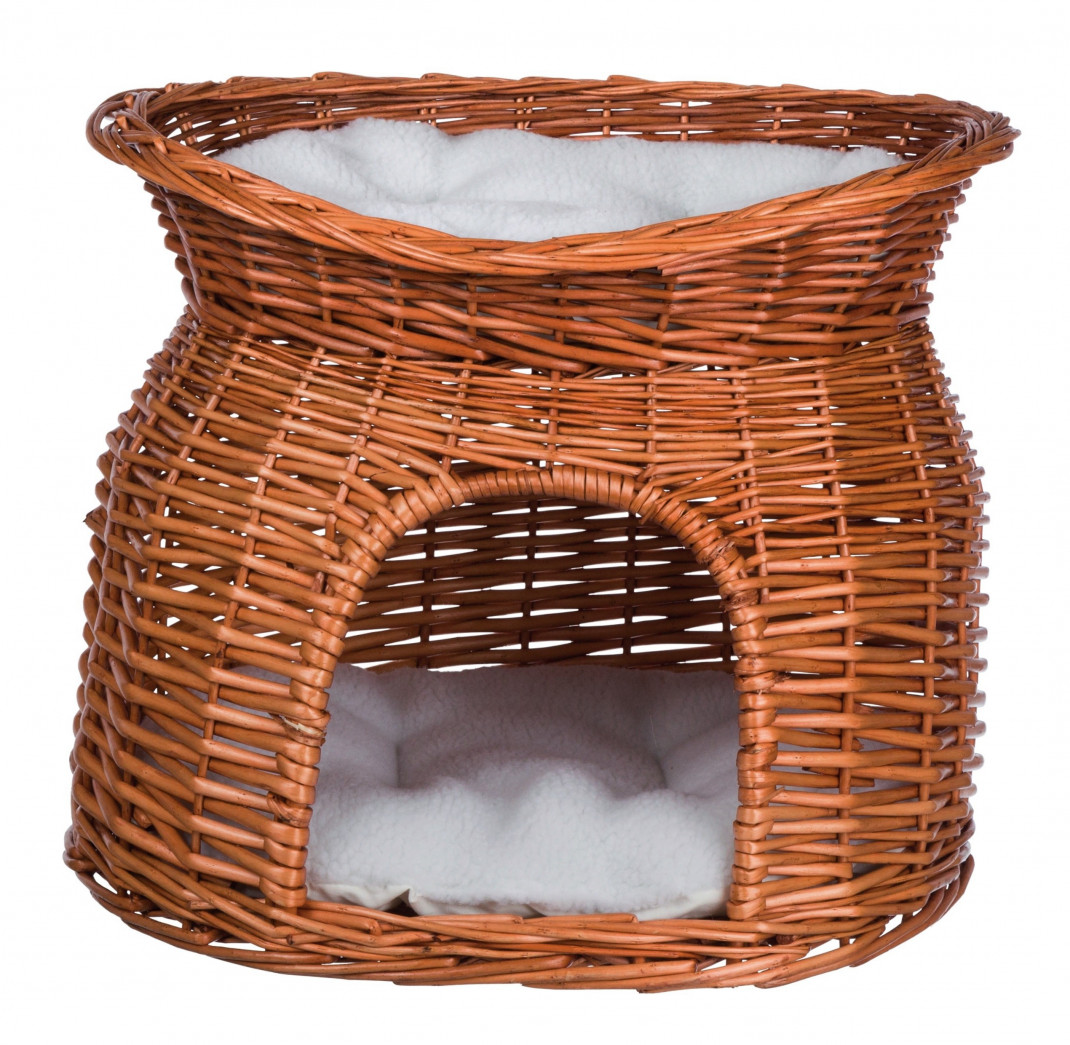 Trixie Wicker Cave with Bed on Top  Orange