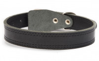 Leather Collar Clasp-free in the Middle Zwart