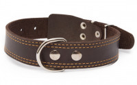Leather collar with textile back, double stitched edges Donker bruin