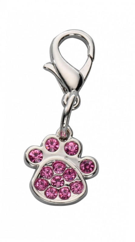 Europet-Bernina Pendant Crystal Paw - Charms Hot pink