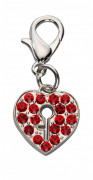 Pendant Locked Heart Czech Crystal Rød