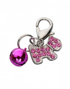 Pendant Happy Dog, Czech Crystal Hot pink