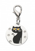 Europet-Bernina Pendant Cartoon Cat, Swarovski Crystal - Black 2.6x2.3 cm